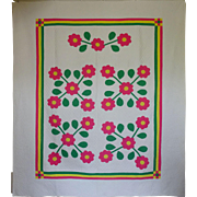 Vint 30s Applique Quilt- Gorgeously Bright Sharon Roses FAB QLTG - Red Tag Sale Item
