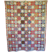 Quilt ~ c. 1900  25-patch - hand-pieced
