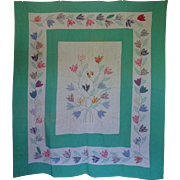 Applique Intertwining Tulips QUILT Shabby Chic