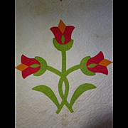 Antique Applique Tulips Quilt  dated 1859 13spi