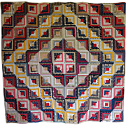 1800's Barn Raising Log Cabin Quilt--lots of red and cheddar