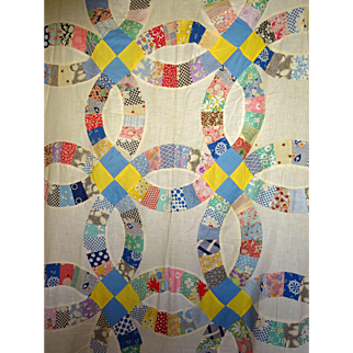 Double Wedding Ring Quilt TOP - 1930's  unused unwashed clean