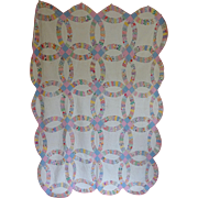 Double Wedding Ring Quilt - 1930's - Feed Sacks Pretty! - Red Tag Sale Item