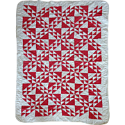 Crib Quilt- genuine, old, red and white