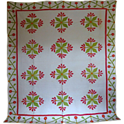 Antique Mexican Rose Applique Quilt, oooh the quilting!!!