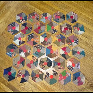 1800's Hexagon Quilt Blocks - Linsey Woolsey  33pieces