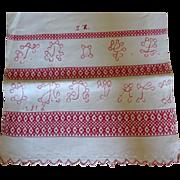 Linen Runner Redwork Hyroglyphics Lettering 1916
