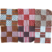 """24 Quilt Blocks c. 1850 pristine  6.5"""""""