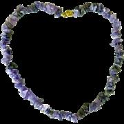 "Amethyst Necklace Polished stones - 18-1/2"""
