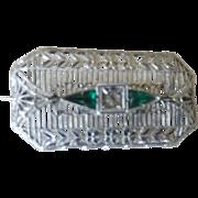 Brooch ~ Emerald and diamond Filigree Costume Vintage