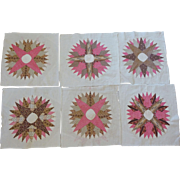 Mariner's Compass Quilt Blocks  6 pieces c. 1850