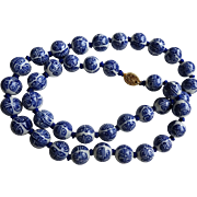 Chinese Porcelain Bead Necklace -Long Life & Happiness b and w