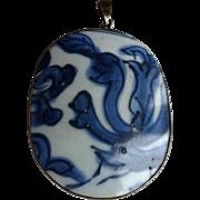 Chinese blue and white Porcelain Shard Pendant