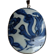 Chinese blue and white Porcelain Shard Pendant