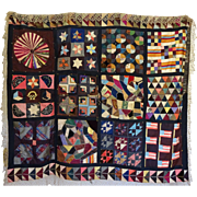 19th C. Sampler Crazy Quilt 12 blocks American Flags Silk and Velvet