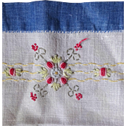 Embroidered Linen Towel c. 1930