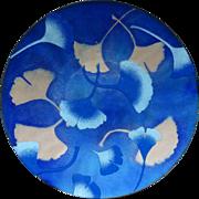 Vintage Enamel Bowl- Ginko Leaves - Signed