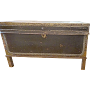 c. 1835 Chinese Leather and Brass Chest on brass Stand 31 x 15""