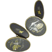Damascene Cufflinks Japanese Motif