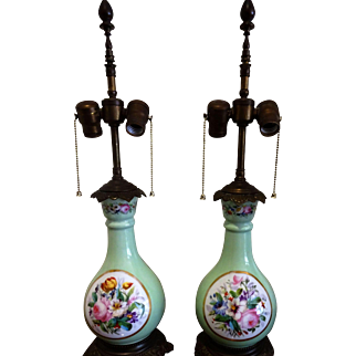 Pair of French Hand Painted Floral Porcelain Lamps 1920's