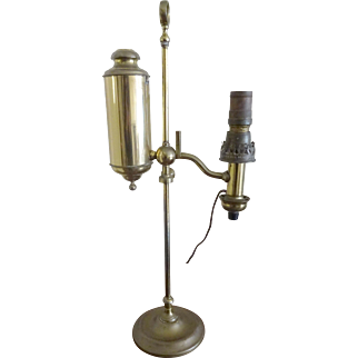 Old Student Lamp Brass Oil / electrified Single Arm