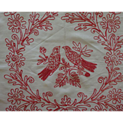 Redwork Sham Love Birds perched in foliage GREAT