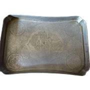 Chinese Kut Hing Swatow Pewter Scholars' Tray Late 1800's