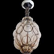 Murano Seguso Caged Glass Pendant light fixture
