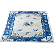 Antique Peking Rug c. 1890 Blue and beige-off wh