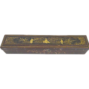 Chinese Export Gilt black lacquer box c. mid 1800's-1900
