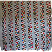 Antique Quilt TOP- Pinwheel columns- Unused  Striking!