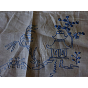Blue Willow Embroidered Tea cloth