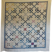 OLD Indigo and White Quilt TOP...great prints