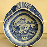 Antique Canton Blue and White Shrimp Serving Dish , mid 1800's