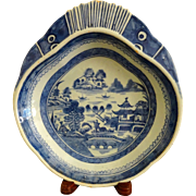 Antique Canton Blue and White Shrimp Serving Dish , mid 1800's