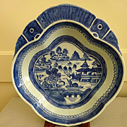 Antique Canton Blue and White Shrimp serving dish mid-1800