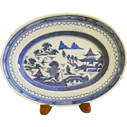 Antique Canton Blue and White China Small Platter