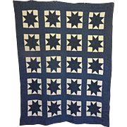 1800's Quilt- Indigo and White Lemoyne Star Unused