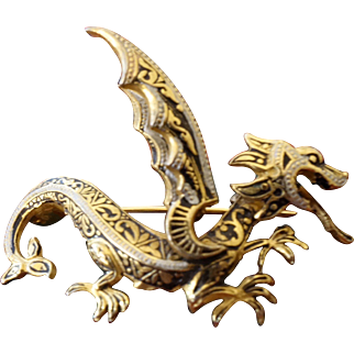 Damasene Dragon Brooch-- for those born in the yr of the dragon..or not