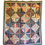 c1850 Log Cabin Quilt Gorgeous Challis Courthouse Steps