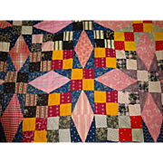 Old Quilt TOP--gorgeous S C R A P S  Stars cheddar +++