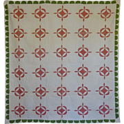 Antique Quilt Hickory Leaf Applique Provenance 19th c.