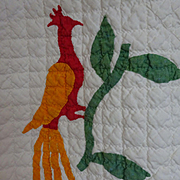 Antique Applique Quilt - Birds perched on Leafy Sprigs and Goblets Unusual