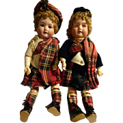 Armand Marseille 390 Dolls Brother and Sister Scottish