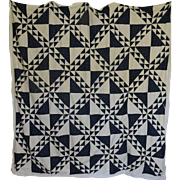 Quilt TOP - old Indigo and White --cutter or scrap salvager