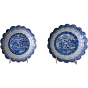 Pair Canton Blue and White Scalloped-edge Serving Dishes 1800's