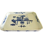 19th c Chinese Blue & White Porcelain Tray