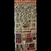"Old Needlepoint Sampler ~ Alphabets and great stitchery patterns 9""x26"""