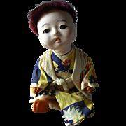 "Japanese Gofun 6"" Baby Boy Doll In Silk Kimono"