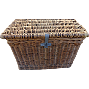 Antique Wicker Steamer Trunk - French